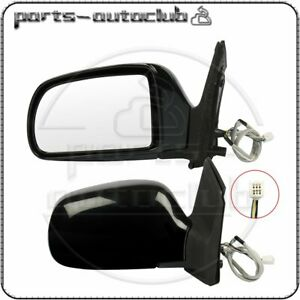 For 1998 2003 Toyota Sienna Left Right Side Mirrors Black Power Heated