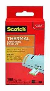 Scotch Thermal Laminating Pouches 2 32 X 3 70 inches Business Card Size 100 p