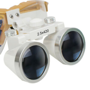 Dental Surgical Medical Binocular Loupes 2 5x 420mm Yellow Glass Lens Magnifier