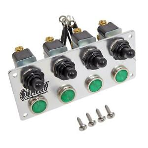 Summit Racing 830810 Switch Panel Dash Mount Brushed Alum Four Toggle Switches