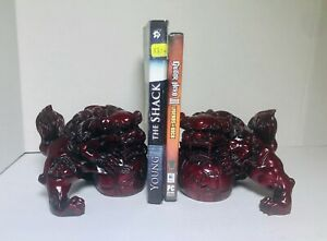 Pair Of Chinese Red Fu Dogs Feng Shui Foo Dogs Resin Book Ends Euc