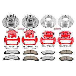 Brake Rotors Pads Red Calipers Drilled slotted Rotors Truck And Tow Pads Front r