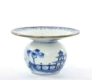 Early 19c Qianlong Chinese Export Blue White Porcelain Spittoon Vase Jar