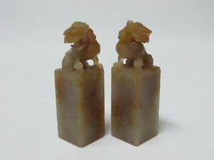 Pair Of Old Chinese Carved Lions Soapstone Seal Stamps With Mark