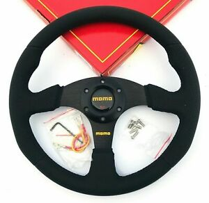 340mm Black Stitch Leather Steering Wheel Flat For Momo Racing Omp Drifting Nd