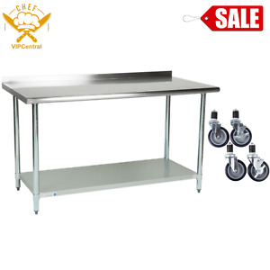 30 X 60 Stainless Steel Work Prep Table Commercial Kitchen Backsplash W Casters