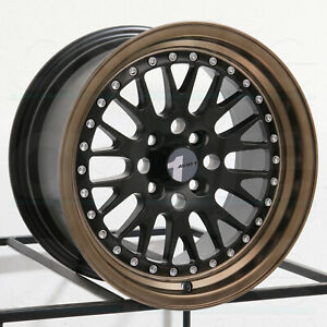 15x8 Avid1 Av12 Av 12 4x100 25 Matte Black Bronze Lip Wheels Rims Set 4