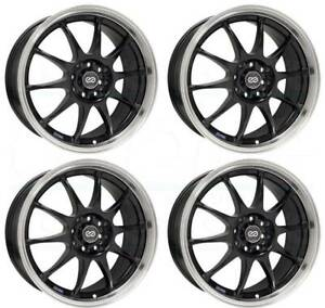 17x7 Enkei J10 4x100 108 42 Black Paint Wheels Rims Set 4