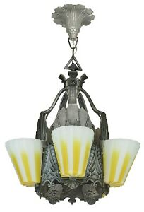 Fabulous Williamson Slip Shade Art Deco Five Slip Shade Chandelier Ant 1138