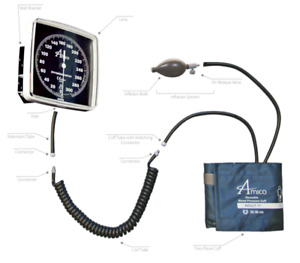Amico Horizontal Rail Mountable Aneroid Sphygmomanometer Adult Cuff