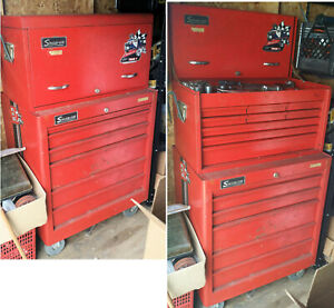 Vintage Rick Mears Decaled Snap On Rolling Tool Box With Tools Keys