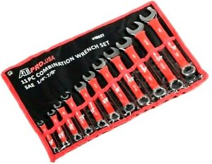 11 Pc Soft Grip Combination Wrench Set Combo Wrenches Sae 1 4 To 7 8 Standard