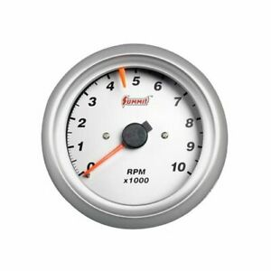 Summit Racing Tachometer 0 10 000 3 3 8 Dia Silver Face G2886