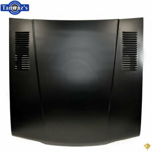 87 93 Mustang Flat Stock Style Hood W Stamped Vent Louvers Steel