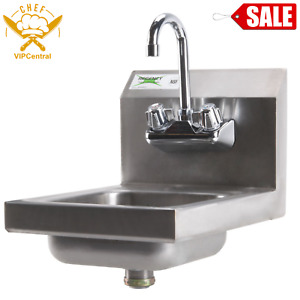 12 X 16 Wall Mount Hand Sink Stainless Steel Commercial Wash Kitchen W Faucet