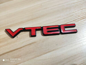Metal Red Vtec Car Trunk Rear Turbo Fender Emblem Badge Decal Sticker Jdm
