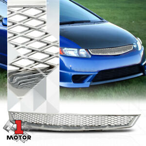 For 2006 2008 Honda Civic Coupe X Mesh Glossy Chrome Abs Bumper Grille Grill