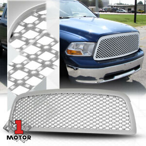 For 2009 2012 Dodge Ram 1500 3d Wave Mesh Glossy Silver Front Bumper Grille