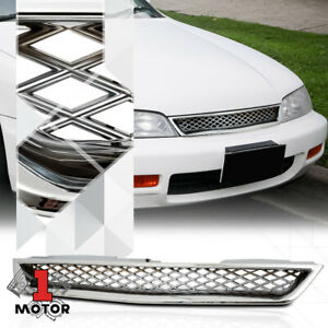 For 1994 1997 Honda Accord x mesh Chrome Abs Front Upper Bumper Grille grill