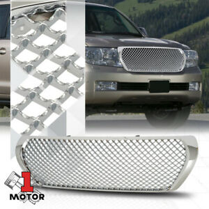 For 2008 2012 Toyota Land Cruiser 3d Wave Mesh Chrome Abs Front Bumper Grille
