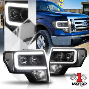 Black led C light Bar Drl Projector Headlight Clear Signal For 09 14 Ford F150