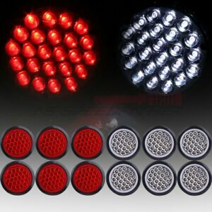 12x Red White 4 Inch Round 24 Led Trailer Truck Side Marker Light Tail Lamp