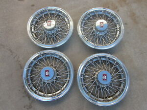 1980 87 Oldsmobile Cutlass Supreme 14 Wire Spoke Hubcaps Wheel Covers Set