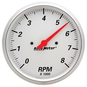 Autometer Arctic White Tachometer 0 8 000 5 Dia In dash White Face 1399