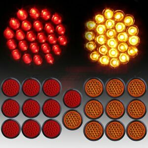 20x Red Amber 4 Inch Round 24led Trailer Truck Side Marker Light Tail Lamp