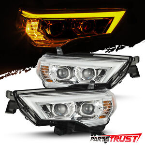 Fit 2014 2020 Toyota 4runner Led Drl signal Projector Headlights Pair Chrome