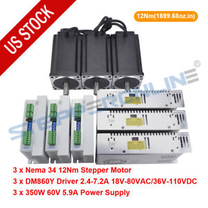 3 Axis Cnc Router Kit 12nm Nema 34 Stepper Motor 6a Driver Power Supply