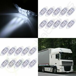 20pcs Side Marker Clearance Lamp Trailer Truck Indicator Light Clear White 4