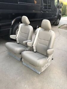 Pair Of Tan Leather Reclining Captain Seats W Seatbelt Rv Bus Sprinter Van