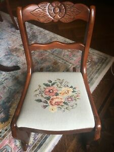 Tell City Antique Rocking Chair With Carved Wood And Floral Needlework Seat