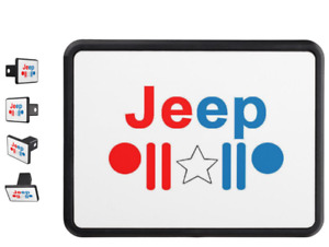 Jeep Red White Blue Logo Custom Trailer Hitch Cover For 2 Receiver