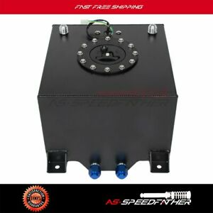5 Gallon Black Polish Aluminum Fuel Cell Gas Tank Level Sender Racing drifting