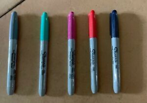 5 Sharpie Fine Point Permanent Markers grey jade pink red Black Sealed h