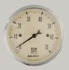 Autometer Antique Beige Tachometer 0 7 000 3 1 8 Dia In dash Gold Face 1898