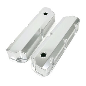 Valve Covers Fab Alum Short Bolt W Holes Sbf Clear Anodized