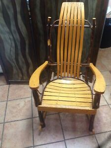 One Very Nice Antique Adirondack Twig And Oak Rocking Chair