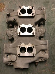 Offenhauser Tri Power Intake Manifold For Large Base Rochester Carbs
