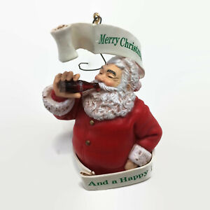 Coca Cola Trim a Tree Ornament Santa Merry Christmas And a Happy New Year 1990
