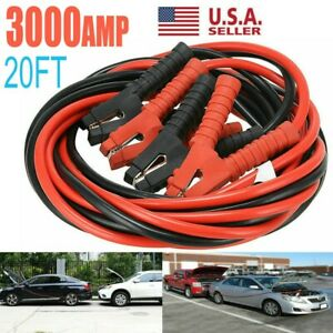 3000amp Booster Cables Jumper Leads 20ft 0 Gauge Heavy Duty Car Van Clamps Start