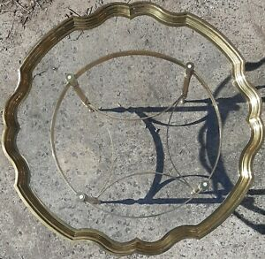 Italian 1960 S Bakers Brass Glass Scalloped Top Coffee Table Vintage 43 1 2