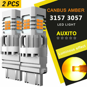 2x Amber Canbus Turn Signal Light 3157a Led Bulb For Ford F150 F250 F350 Yellow
