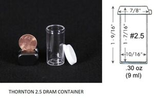 Thornton 2 5 Dram Clear Plastic Vial Container Small Collector Holder 1000x