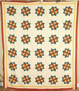 Vintage 1890 S Red Green Cheddar Ring Around The Rosy Antique Quilt Top