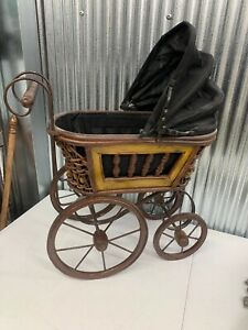 Vintage Baby Doll Carriage Buggy Ornate Wicker Metal Scroll Canvas Fold Canopy