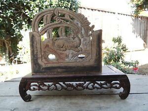 A73 Antique Carved Wood Panel With Rabbit And Flower