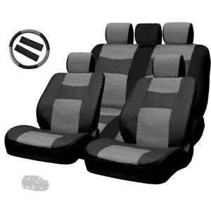 For Jeep Premium Black Grey Synthetic Leather Car Seat Steering Covers Set